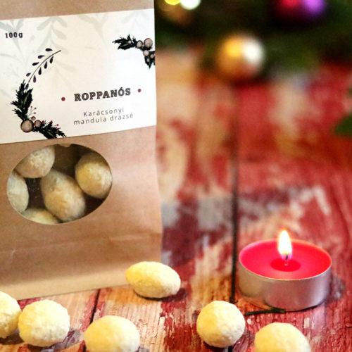 Zahara Roppanós Karácsonyi csokidrazsé - kókuszos mandula tejcsokoládé köntösben - csokoládé ajándék - gasztroajándék