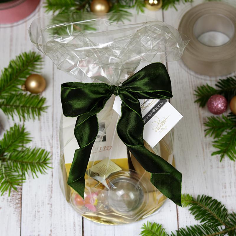 Celofán ajándéktasak karácsonyi ajándékcsomagolás, gasztroajándék