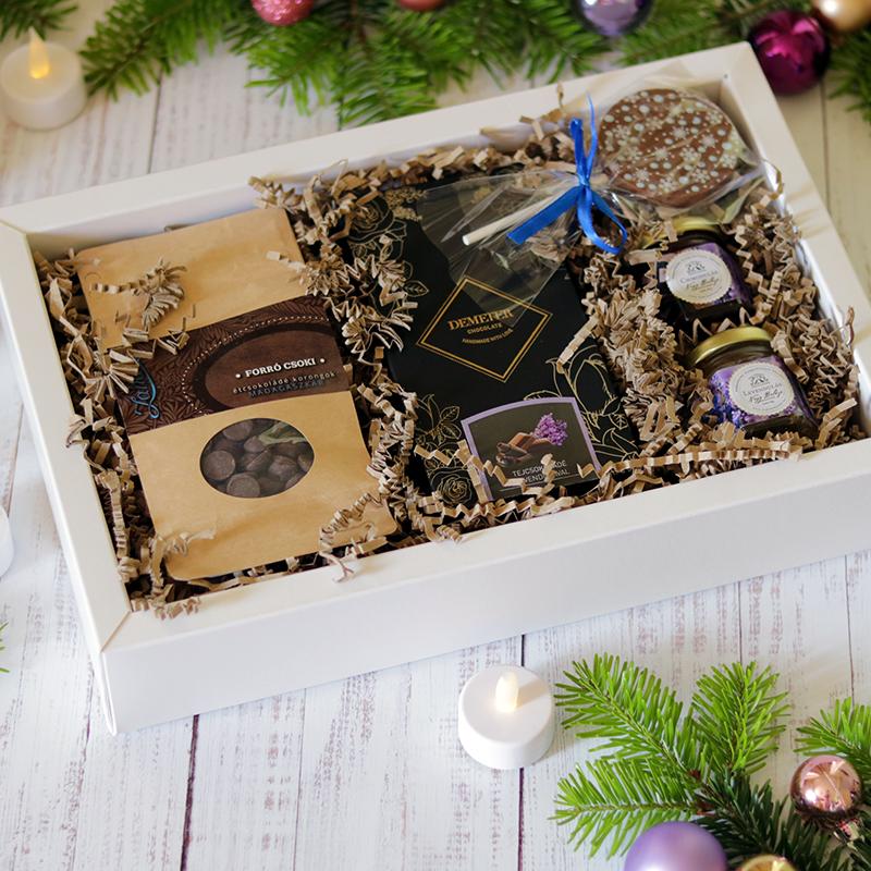 Levendulás karácsonyi gasztroajándék ajándékdoboz