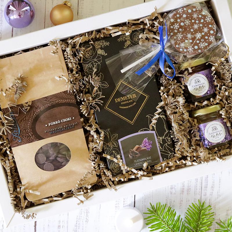 Levendula és csokoládé karácsonyi ajándékcsomag