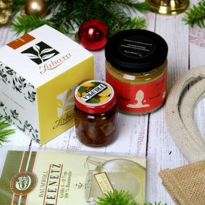 Mandulakrém és tea ajándékcsomag - karácsonyi gasztroajándék