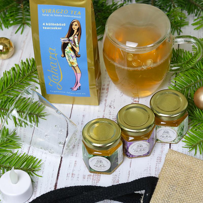 Virágzó tea ajándékcsomag méz válogatással