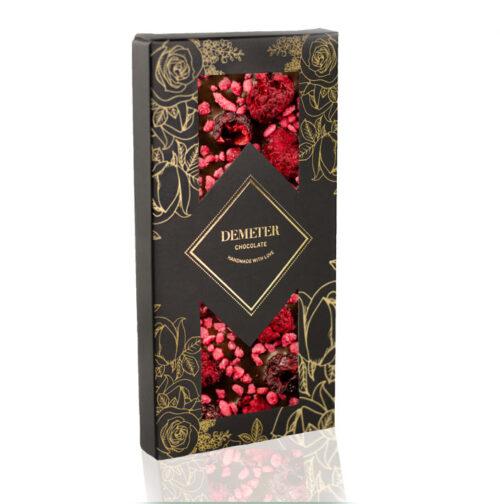 Kézműves csokoládé prémium kézműves étcsoki málna meggy rózsa Demeter csoki