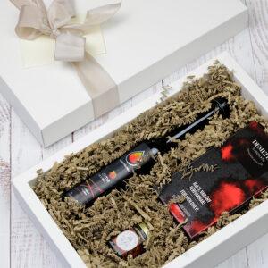 Pálinka ajándékcsomag férfiaknak - csokoládé, pálinka, méz