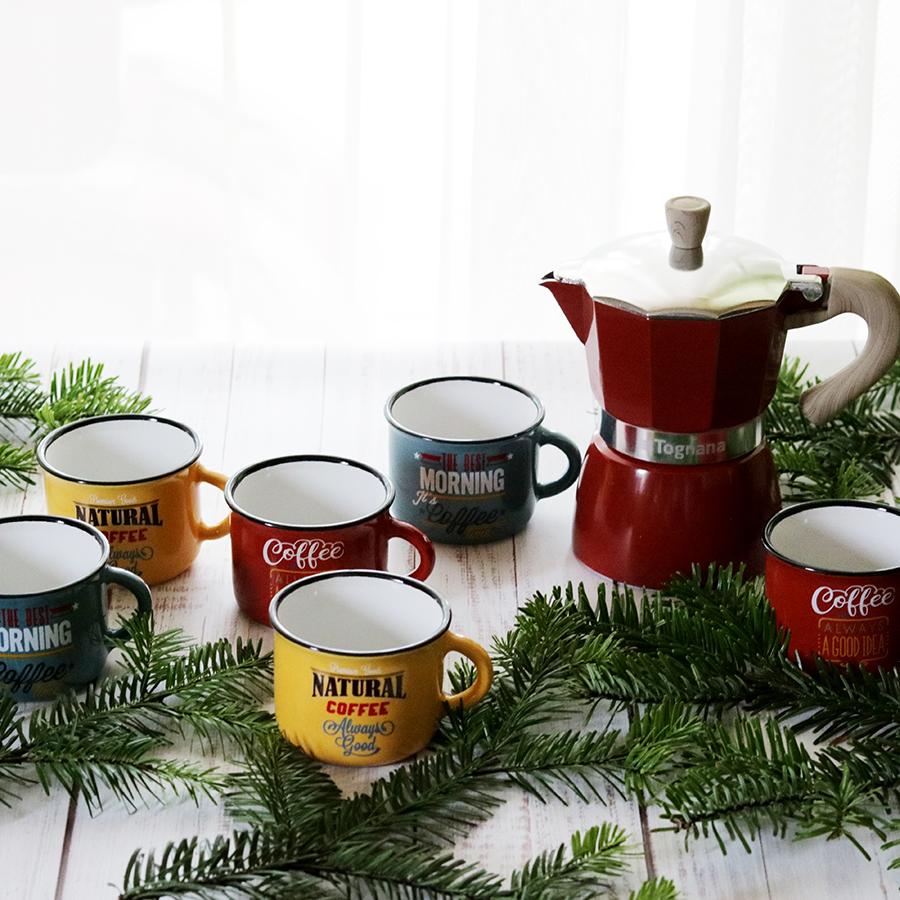 Fém hatású retro / vintage kerámia mokkás kávéscsésze készlet kotyogós kávéfőzővel