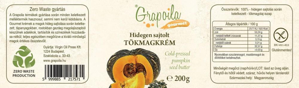 hidegen sajtolt tökmagkrém kézműves termék grapoila