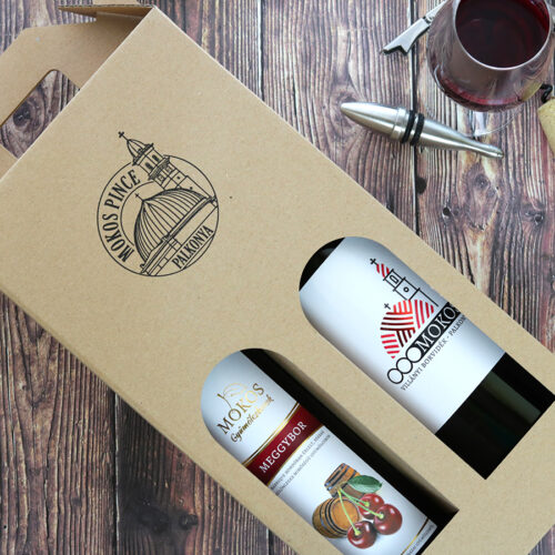 Díszdobozos Mokos villányi bor válogatás - barrique meggybor és Redy cuvee