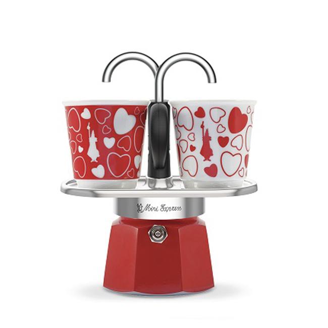 bialetti mini express kotyogós kávéfőző szett szivecskés