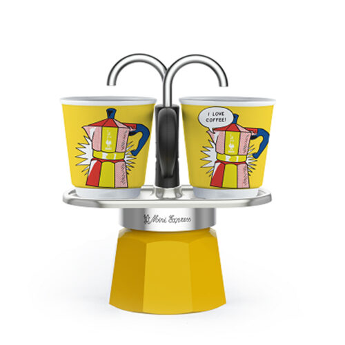 bialetti mini express kotyogós kávéfőző szett sárga
