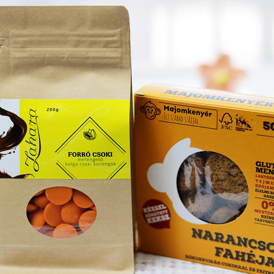 Narancsos ízesített forró csoki pasztilla és Majomkenyér narancsos fahéjas keksz