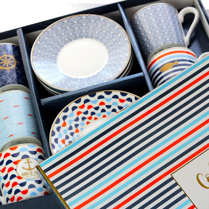 Nyári matróz mintás espresso kávéscsésze készlet ajándékcsomag